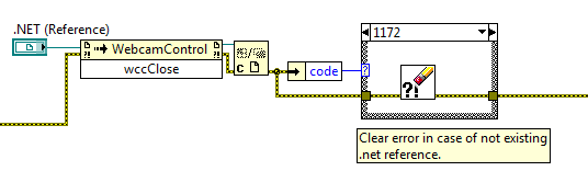 Blockdiagramm von Close Webcam Control.vi