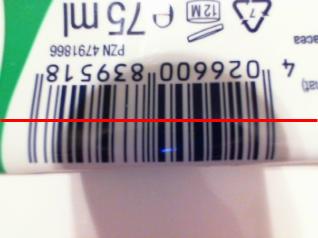 Ein auf dem Kopf stehender Barcode kann gelesen werden