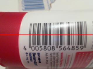 Barcode mit andersfarbigem Bildbereich links neben dem Code