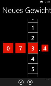 """Seite zum Eintragen eines neuen Gewichts. Es handelt sich um einen sogenannten """"Looping Selector""""."""